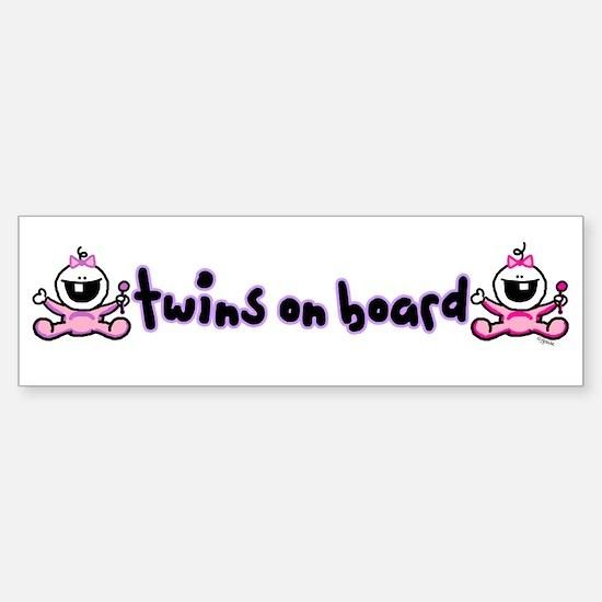 Twin Girls on Board Bumper Bumper Bumper Sticker