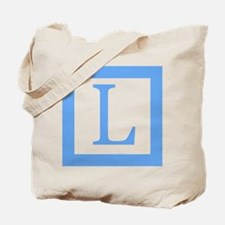 Baby Blue Border Monogram Tote Bag