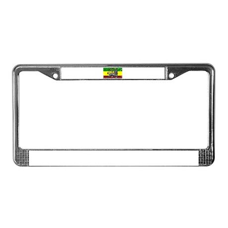 Grunge Rastafarian Flag License Plate Frame