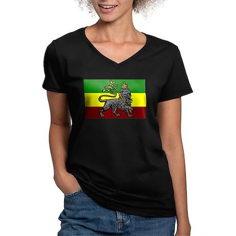 Rastafarian Flag Women's V-Neck Dark T-Shirt