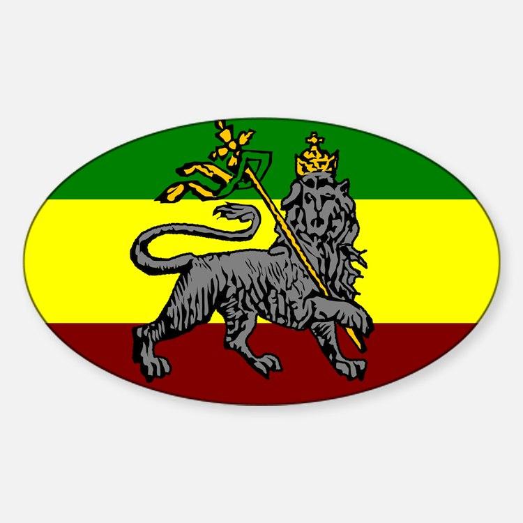 Rastafarian Flag Oval Decal