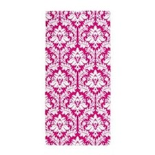 Hot Pink Damask pattern Beach Towel