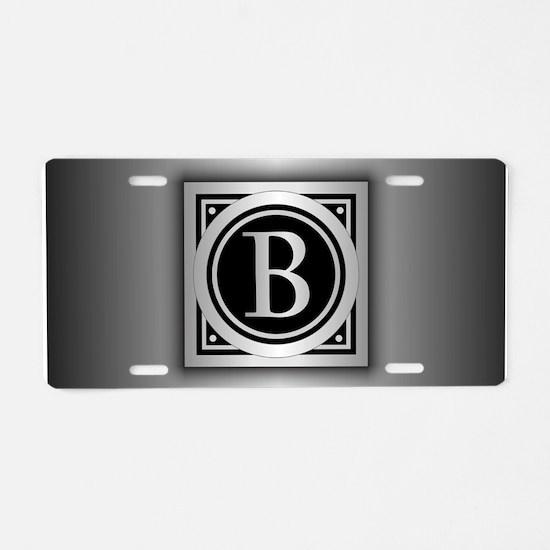 Deco Monogram B Aluminum License Plate