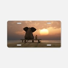 Elephant And Dog Friends Aluminum License Plate