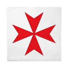Red Maltese Cross Queen Duvet