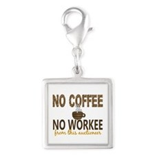 Auctioneer No Coffee No Worke Silver Square Charm