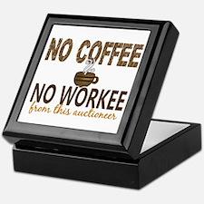 Auctioneer No Coffee No Workee Keepsake Box