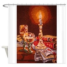 Bookworm Needlpoint Print Shower Curtain