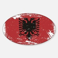 Grunge Albania Flag Sticker (Oval)