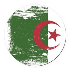 Grunge Algeria Flag Round Car Magnet