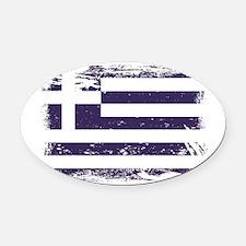 Grunge Greece Flag Oval Car Magnet