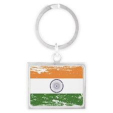 Grunge India Flag Landscape Keychain