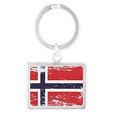 Grunge Norway Flag Landscape Keychain