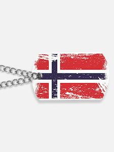 Grunge Norway Flag Dog Tags