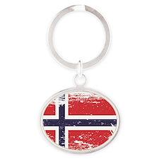Grunge Norway Flag Oval Keychain