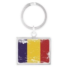 Grunge Romania Flag Landscape Keychain