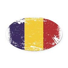 Grunge Romania Flag Oval Car Magnet