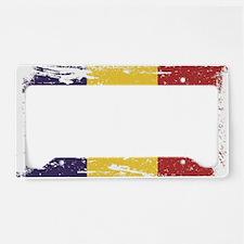 Grunge Romania Flag License Plate Holder