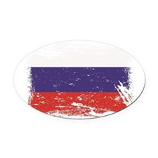 Grunge Russia Flag Oval Car Magnet