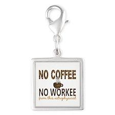 Astrophysicist No Coffee No W Silver Square Charm