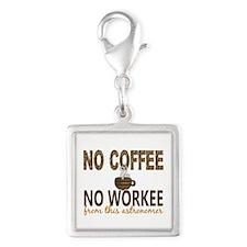 Astronomer No Coffee No Worke Silver Square Charm