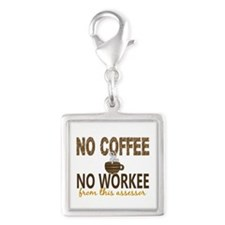 Assessor No Coffee No Workee Silver Square Charm