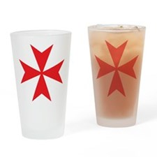 Red Maltese Cross Drinking Glass