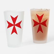 Red Maltese Cross Drinking Glass