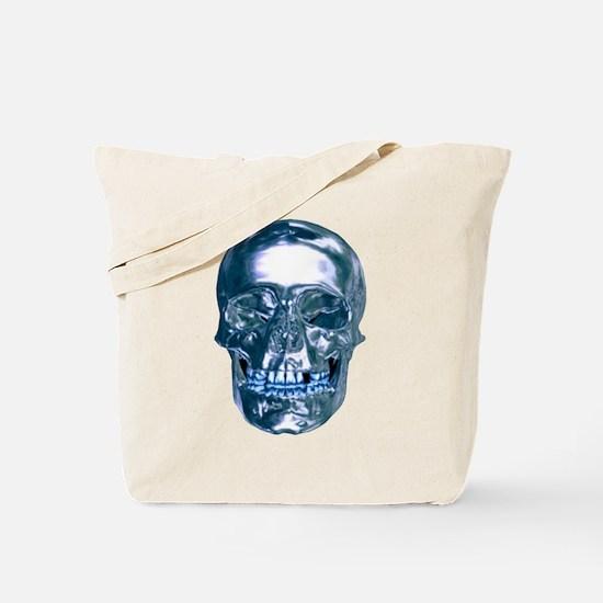 Blue Chrome Skull Tote Bag