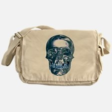 Blue Chrome Skull Messenger Bag