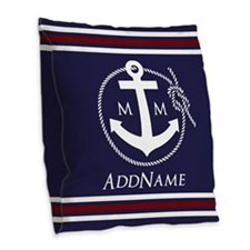Navy Nautical Rope and Anchor Burlap Throw Pillow