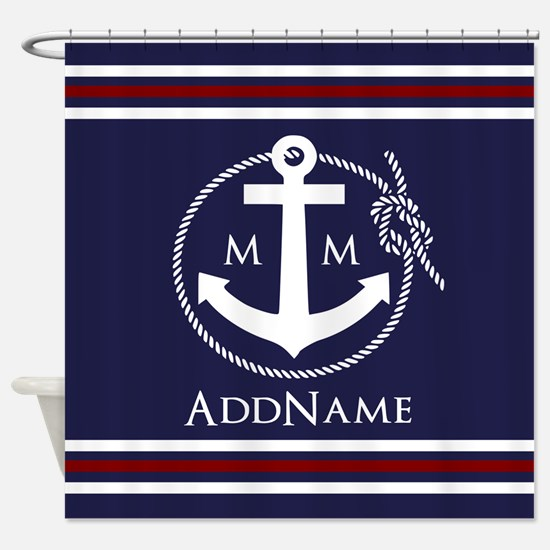 Navy Nautical Rope and Anchor Monog Shower Curtain