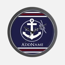 Navy Nautical Rope and Anchor Monogram Wall Clock