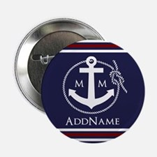 "Navy Nautical Rope and Anchor Monogra 2.25"" Button"