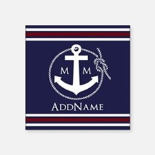 "Navy Nautical Rope and Anch Square Sticker 3"" x 3"""
