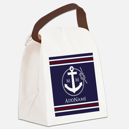 Navy Nautical Rope and Anchor Mon Canvas Lunch Bag