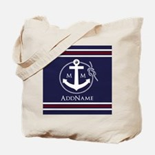 Navy Nautical Rope and Anchor Monogram Tote Bag