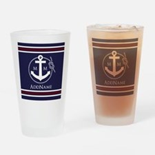 Navy Nautical Rope and Anchor Monog Drinking Glass