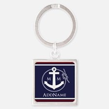 Navy Nautical Rope and Anchor Mono Square Keychain