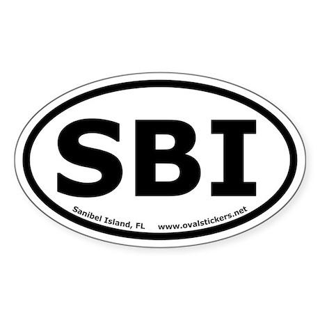 "Sanibel Island, Florida ""SBI"" oval sticker."