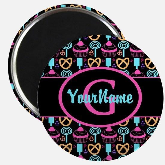 Modern Monogram Cupcakes Girly Magnets