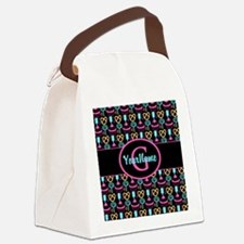 Modern Monogram Cupcakes Girly Canvas Lunch Bag