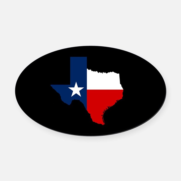 Texas Flag on Texas Outline Oval Car Magnet