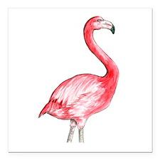 "Flamingo Watercolor Square Car Magnet 3"" x 3"""