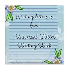 Universal Letter Writing Week Tile Coaster