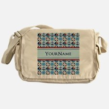 Nautical Stripes Cute Anchor Monogra Messenger Bag