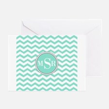 Mint Blue-Green Gray Monogram Greeting Cards