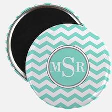 Mint Blue-Green Gray Monogram Chevron Magnets