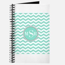 Mint Blue-Green Gray Monogram Chevron Journal