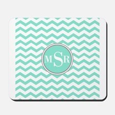 Mint Blue-Green Gray Monogram Chevron Mousepad